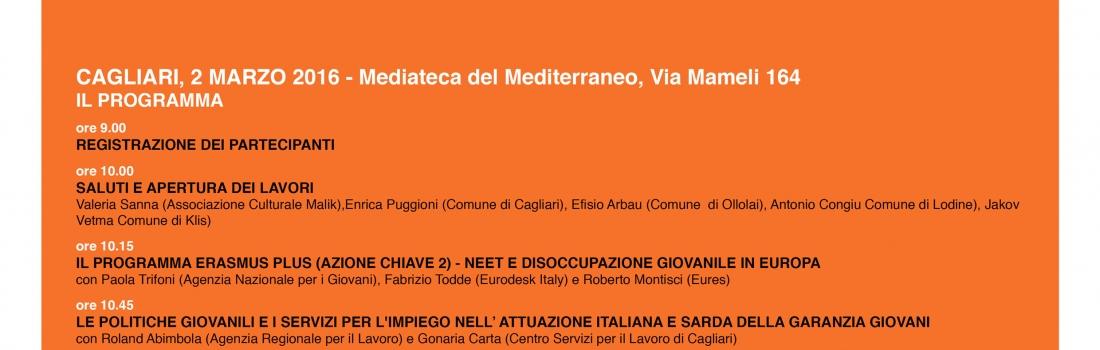 L'Associazione Culturale Malik organizza a Cagliari l'evento di presentazione dei risultati del progetto europeo NEET